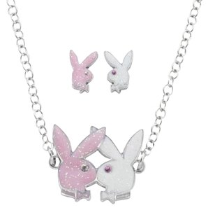 Playboy Playboy Jewelry Set Necklace Earrings Kissing Bunnies Bunny Logo RARE
