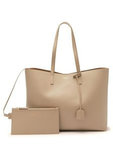 Saint Laurent Monogram East West Shopping Sand Tote in Dusty Grey
