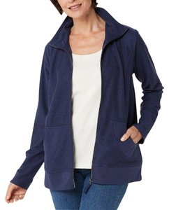 Denim & Co. French Terry Zip-front Long Sleeve Navy Womens Jean Jacket