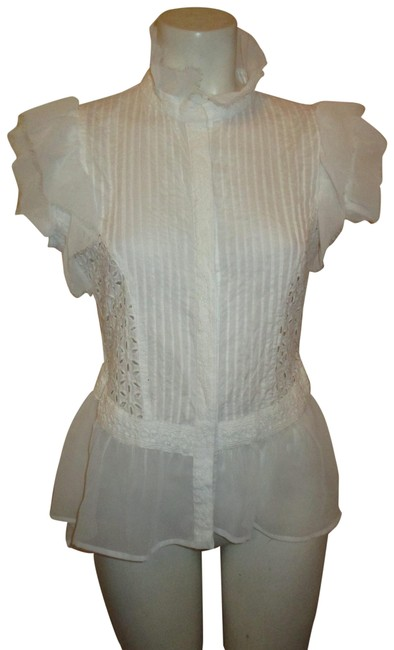 Item - White Ruffled Sleeveless High Low Blouse Button-down Top Size 8 (M)