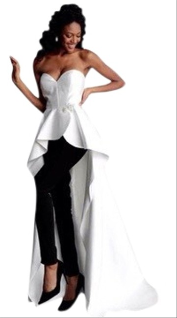 Item - White Black Women's 66852 Strapless Pantsuit with Overskirt Long Formal Dress Size 0 (XS)
