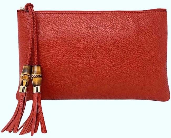 Item - Small Zip Pouch Wallet Red Leather Clutch