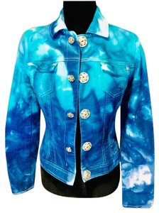Tahari blue teal and soft white Womens Jean Jacket