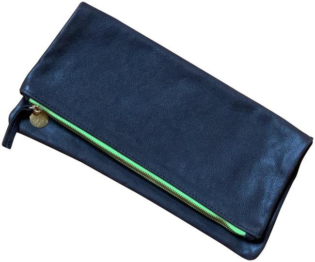 Item - With Detail Dark Brown & Neon Leather Clutch