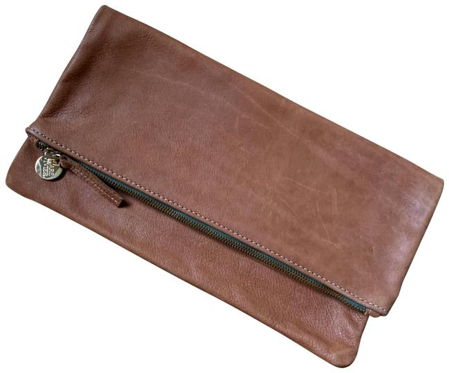 Clare V. With Army Green Detail Brown Leather Clutch Clare V. With Army Green Detail Brown Leather Clutch Image 1