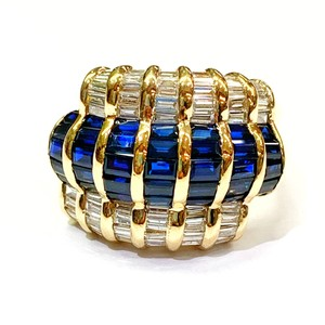 LeVian GORGEOUS!! LeVian 18 Karat Yellow Gold, Blue Sapphire and Diamond Ring
