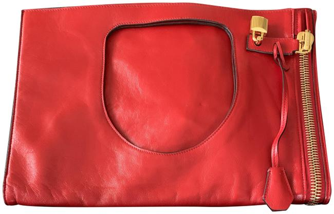 Item - Clutch Alix Padlock Fold-over Flame Red Smooth Lux Calf Leather Shoulder Bag