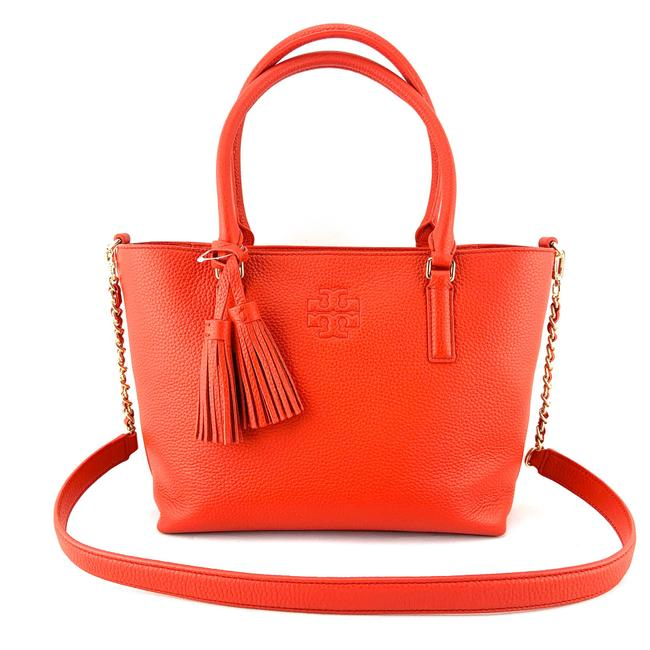 Tory Burch Thea Small Convertible Red Pebbled Leather Tote Tory Burch Thea Small Convertible Red Pebbled Leather Tote Image 1