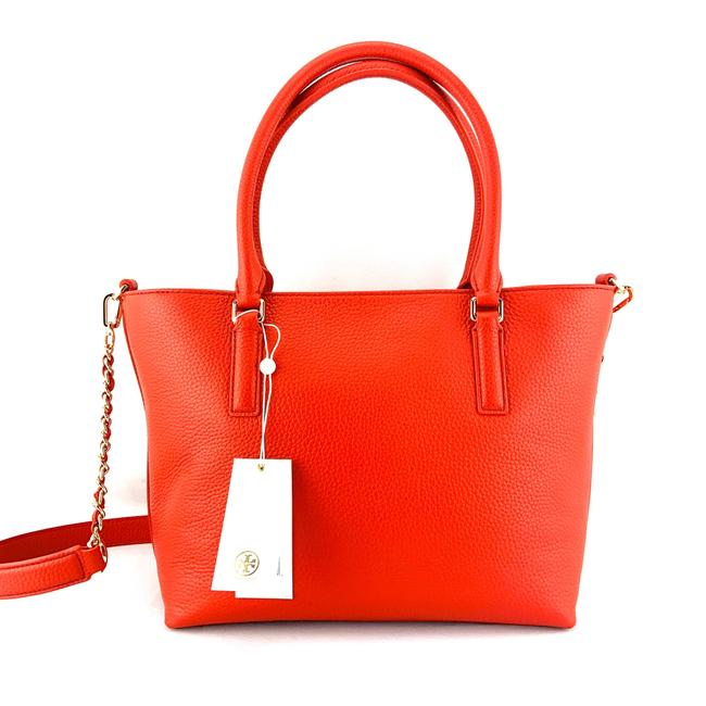 Tory Burch Thea Small Convertible Red Pebbled Leather Tote Tory Burch Thea Small Convertible Red Pebbled Leather Tote Image 2
