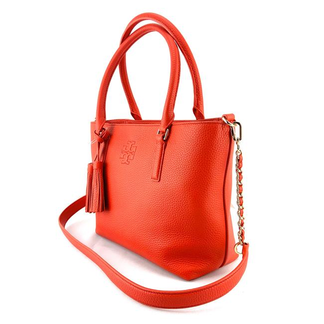 Tory Burch Thea Small Convertible Red Pebbled Leather Tote Tory Burch Thea Small Convertible Red Pebbled Leather Tote Image 3