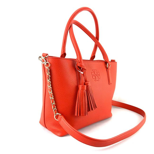 Tory Burch Thea Small Convertible Red Pebbled Leather Tote Tory Burch Thea Small Convertible Red Pebbled Leather Tote Image 4