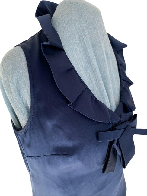 Item - Blue Sapphire Silk Satin Ruffle Neck Zip Sleeveless Blouse Size 6 (S)