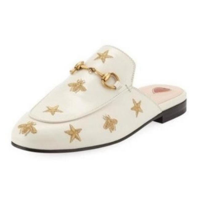Item - White Princetown Embroidered Leather Slipper Brand Flats Size US 4 Regular (M, B)