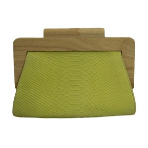 J.McLaughlin Yellow-green Green Leather Snakeskin Wood Yellow Clutch
