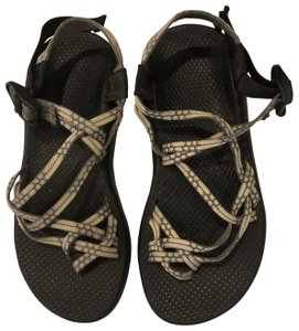 Chaco black shoe straps are grey and off white Sandals
