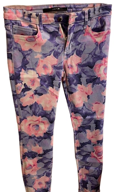 Item - Blue with Pink and Purple Flowers Light Wash Skinny Jeans Size 4 (S, 27)