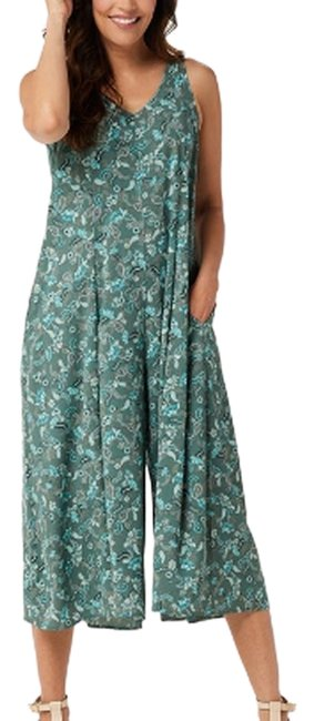 Item - Teal Stretch Woven Wide-leg Jumpsuit Long Casual Maxi Dress Size 12 (L)