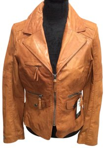 Black Rivet Camel/ Tan Leather Jacket