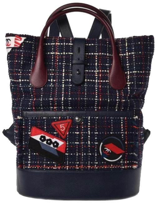 Item - Flight Handle Logo Rare Limited Edition Navy Blue Burgundy Red White Tweed and Caviar Leather Backpack