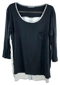 Loveappella High-low 2-tone Flowy Dual Fabric Buttoned Top Black, Gray