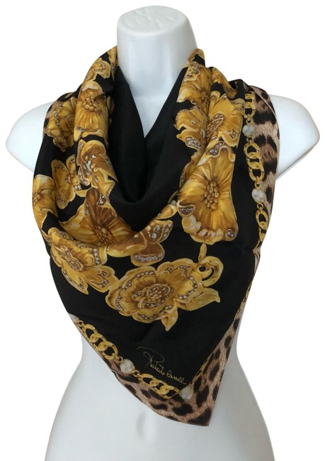 Item - Black/Golden Flowers Diamonds Pearls Silk Scarf/Wrap