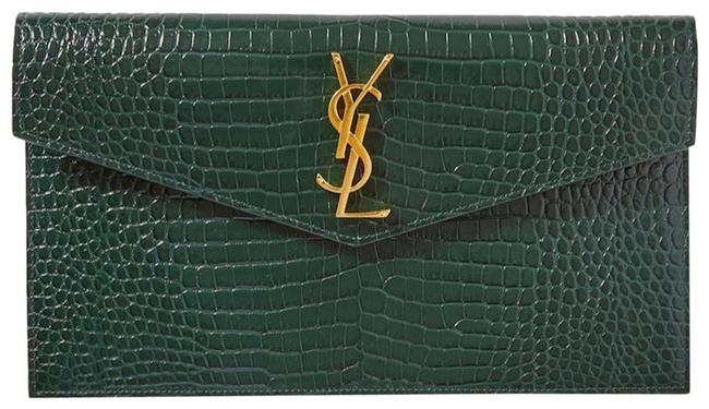 Item - New Ysl Croc Pouch Green Leather Clutch