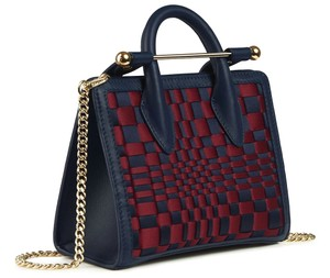 Strathberry Nano Blue Tote in Navy with Woven Burgundy Check