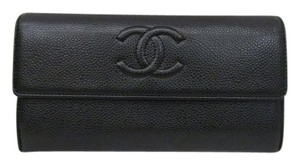 Chanel CHANEL Chanel Bi-fold Wallet Cocomark A500700 Caviar Skin Black Leather Long Snap Button Open / Close G Card Lady's
