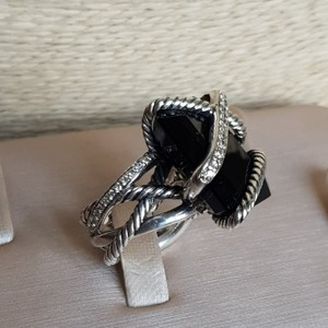 David Yurman David Yurman 20x15 Black Onyx Diamond Cable Wrap Ring
