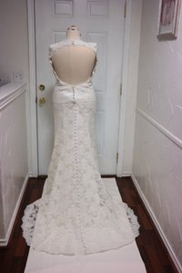 Alencon Lace Keyhole Back Wedding Dress