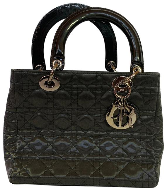 Item - Cannage Quilted Satin and Mini Black Patent Leather Tote