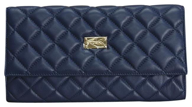 Item - Quilted Navy Leather Clutch