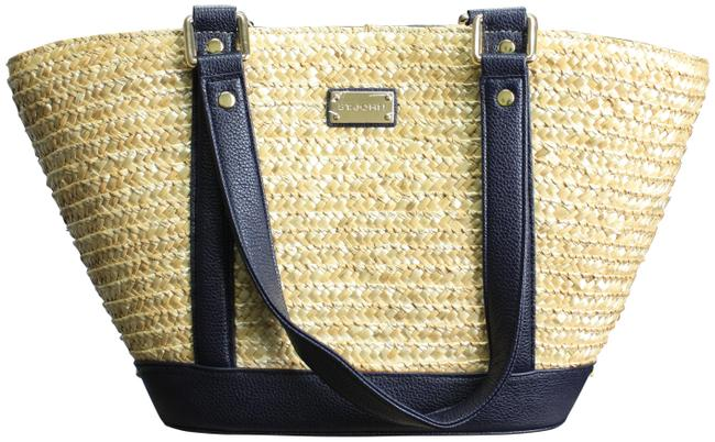 Item - Woven Straw/Leather Tan/Navy Tote