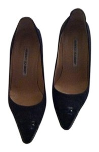 Manolo Blahnik Black Patent Leather & Gray Wool Pumps