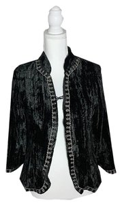 Jen's Pirate Booty Velvet Embroidered Free People Johnny Was Boho Black Blazer