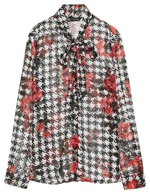 Item - Black White Red Roses Print Houndstooth Long Sleeve Blouse Size 4 (S)