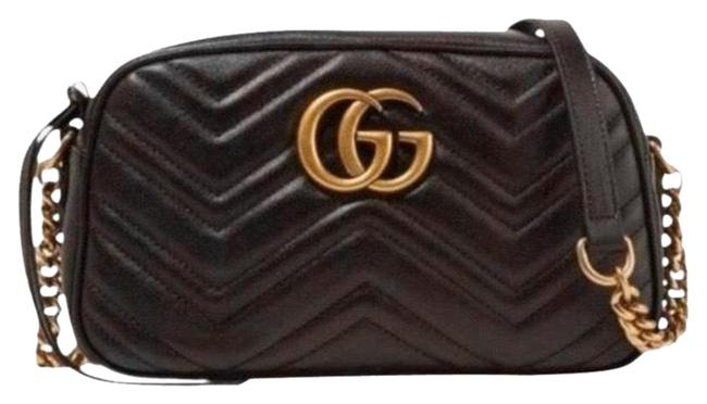 Gucci Shoulder Marmont Gg Logo Small Quilted Leather Camera Black Cross Body Bag Gucci Shoulder Marmont Gg Logo Small Quilted Leather Camera Black Cross Body Bag Image 1