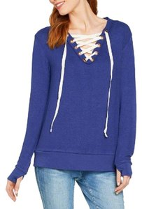 Peace Love World Comfy Lace-up V-neck Sweater