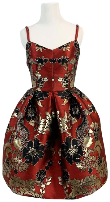 Item - Red Black Gold Jacquard Fit Flare with Crop Jacket Short Formal Dress Size 0 (XS)