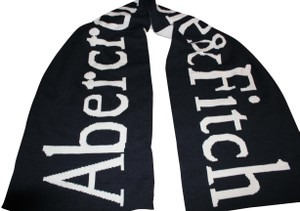 Abercrombie & Fitch NEW ABERCROMBIE & FITCH LARGE KNIT LOGO SCARF WRAP NAVY IVORY