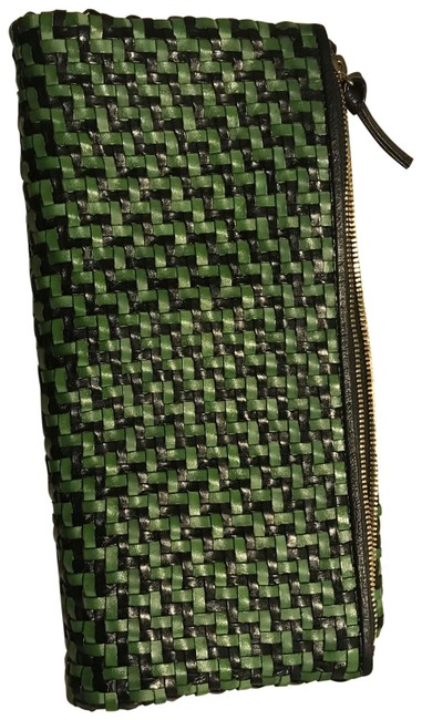 Item - Navy & Green Leather Clutch
