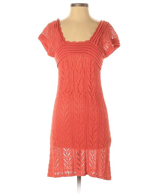 Item - Pink Coral Crochet Knit Sleeve Short Casual Dress Size 6 (S)