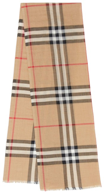 Item - Camel Lightweight Check Wool Silk Scarf/Wrap