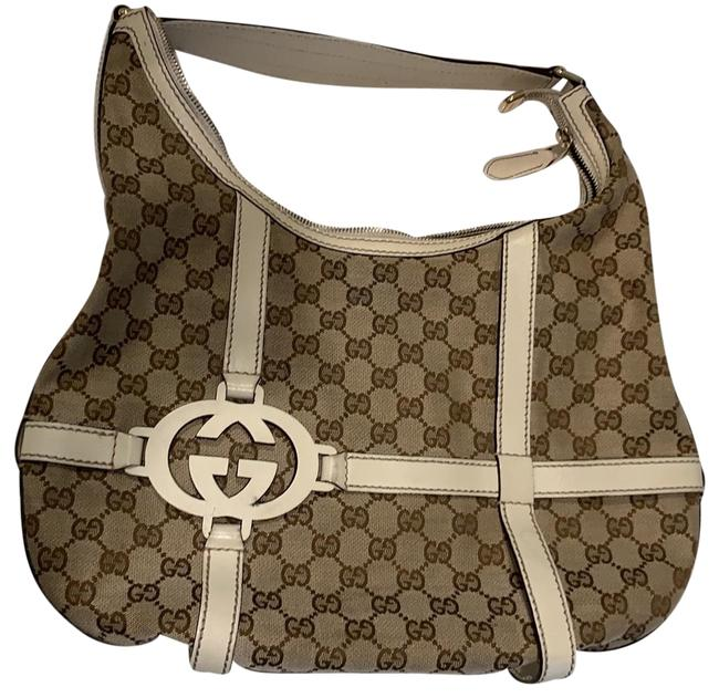 Gucci 181500 Cream Gg Fabric with Lather Shoulder Bag Gucci 181500 Cream Gg Fabric with Lather Shoulder Bag Image 1