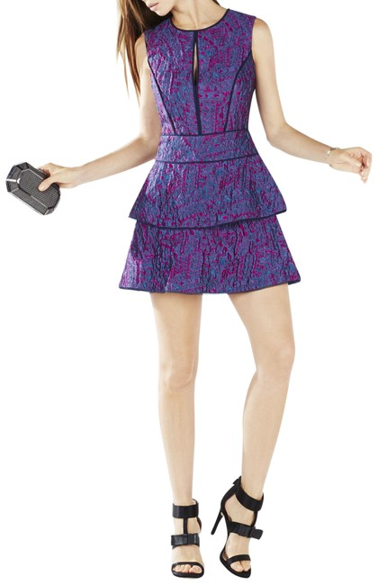 Item - Purple Bcbg Joylynn Ruffled Textured Jacquard Flare Short Cocktail Dress Size 2 (XS)