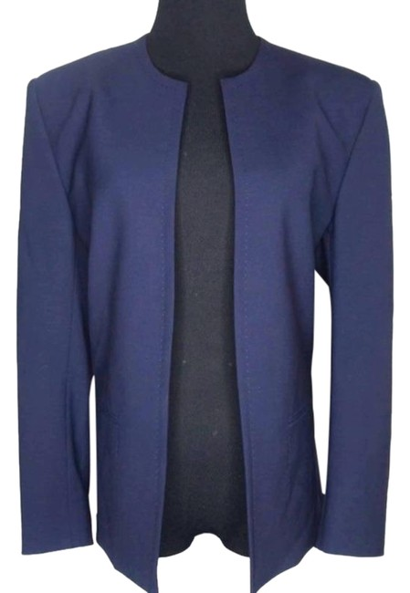Item - Blue Open Front Collarless Jacket Large Blazer Size 12 (L)