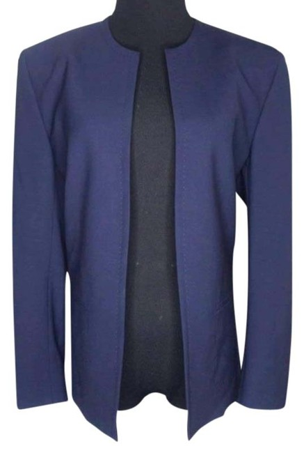 Item - Blue Open Front Navy Collarless Large Blazer Size 12 (L)