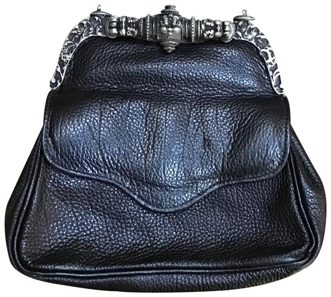 Item - Evening Small with Silver Hardware/Chain Black Leather Shoulder Bag