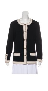 Chanel Cashmere Buttons Contrast Cardigan