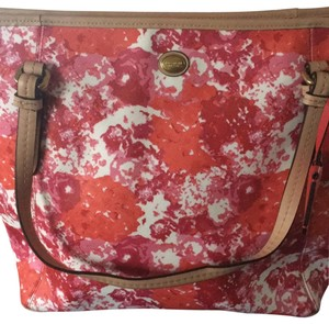 Coach Tote in pink and red floral